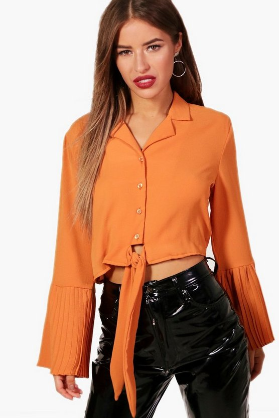 Petite Alana Crepe Pleated Sleeve Tie Front Shirt