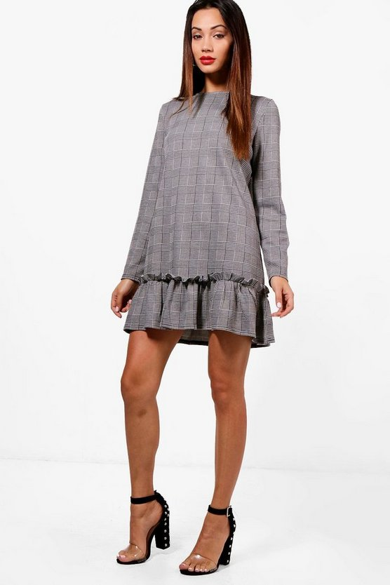 Petite Dogtooth Check Drop Hem Shift Dress
