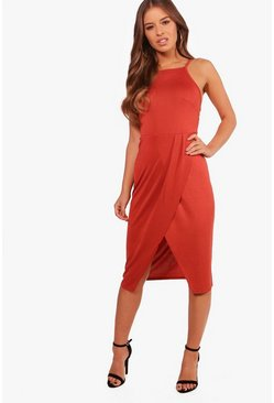 Womens Terracotta Petite High Neck Wrap Midi Dress