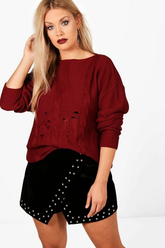 Plus Distressed Knitted Jumper
