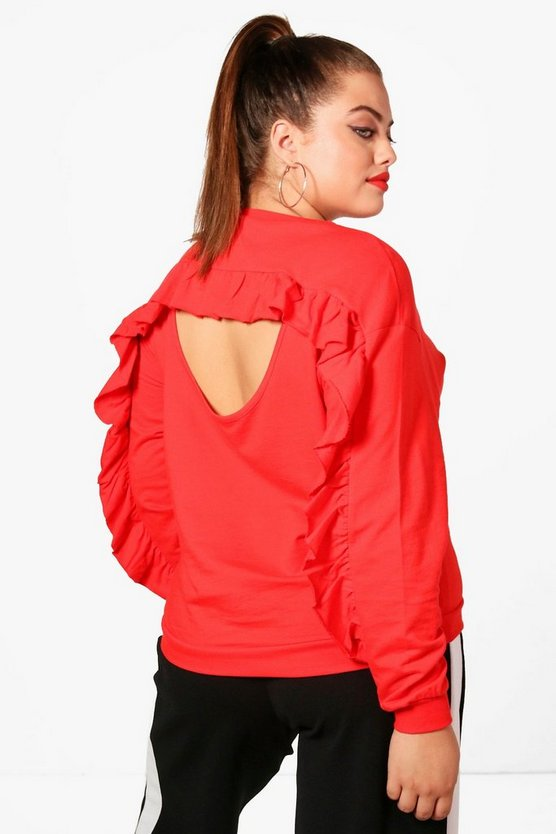 Plus Ruffle Back Sweatshirt