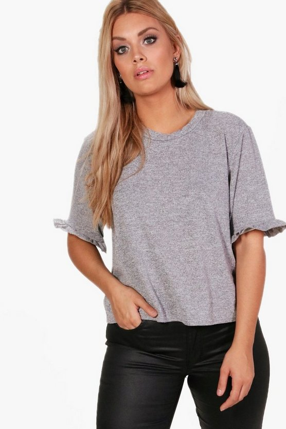 Plus Frill Sleeve T Shirt