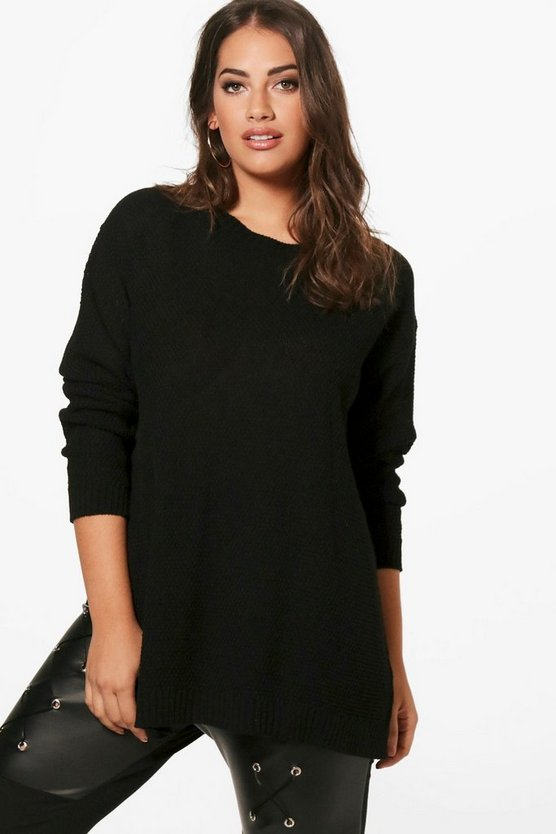 Womens Black Plus Side Split Moss Stitch Jumper