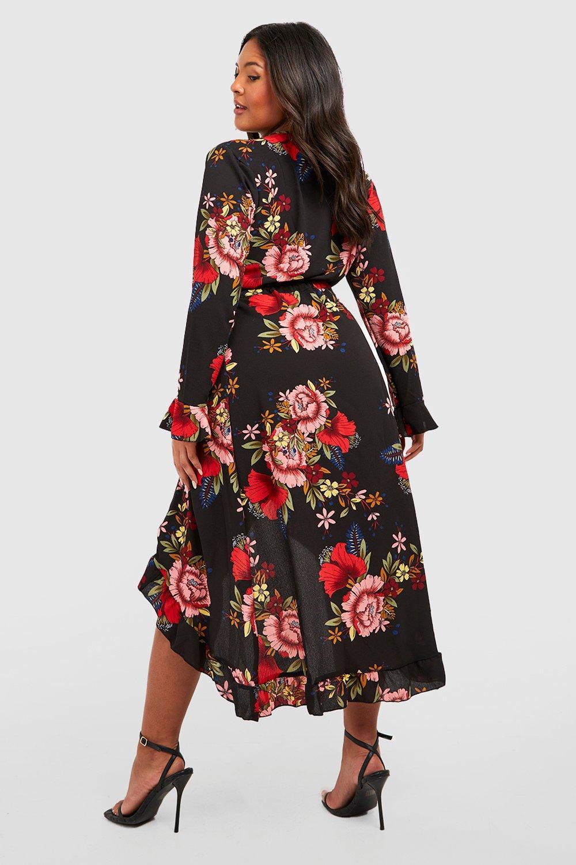 9727882e4a Womens Black Plus Wrap Floral Midi Dress. Hover to zoom. Close video