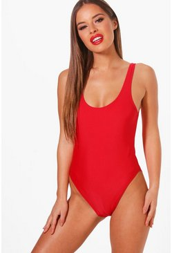 Womens Petite  Basic Red Swimsuit