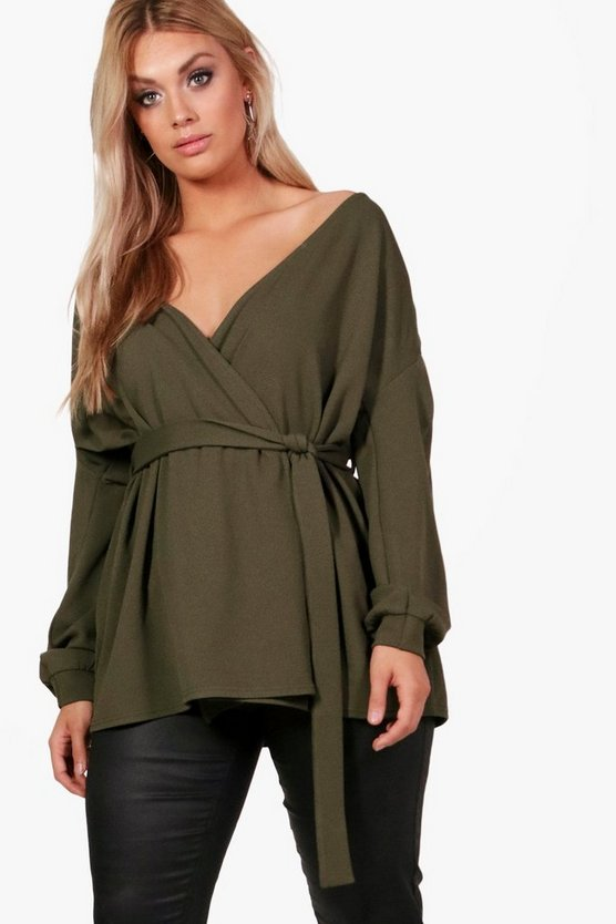 Plus Off The Shoulder Wrap Blazer