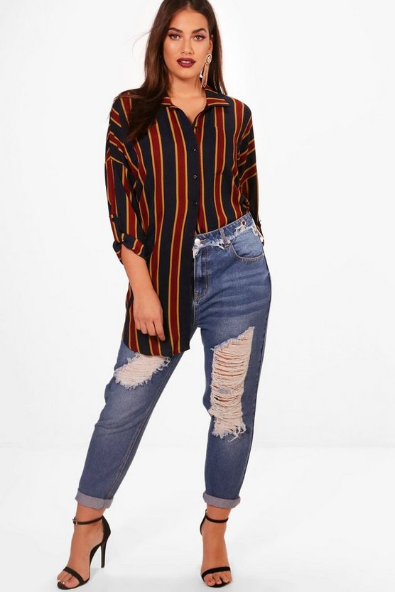 Plus Alexis Striped Oversized Shirt