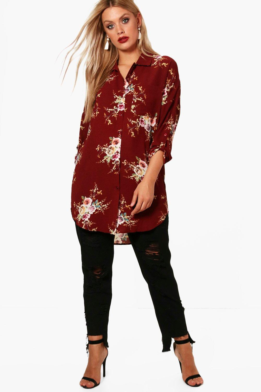 Plus Daisy Floral Oversized Shirt
