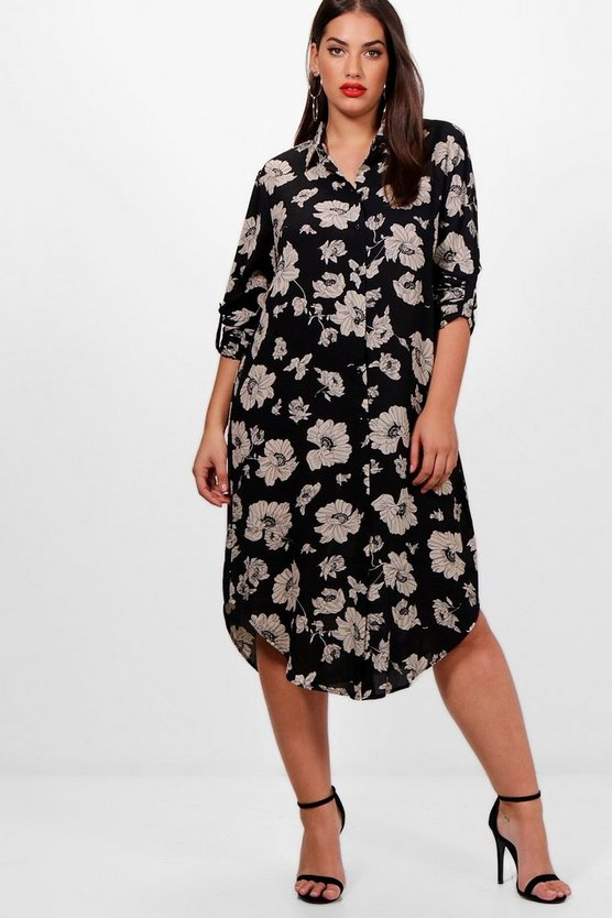 Womens Black Plus Cassie Printed Woven Shirt Dress