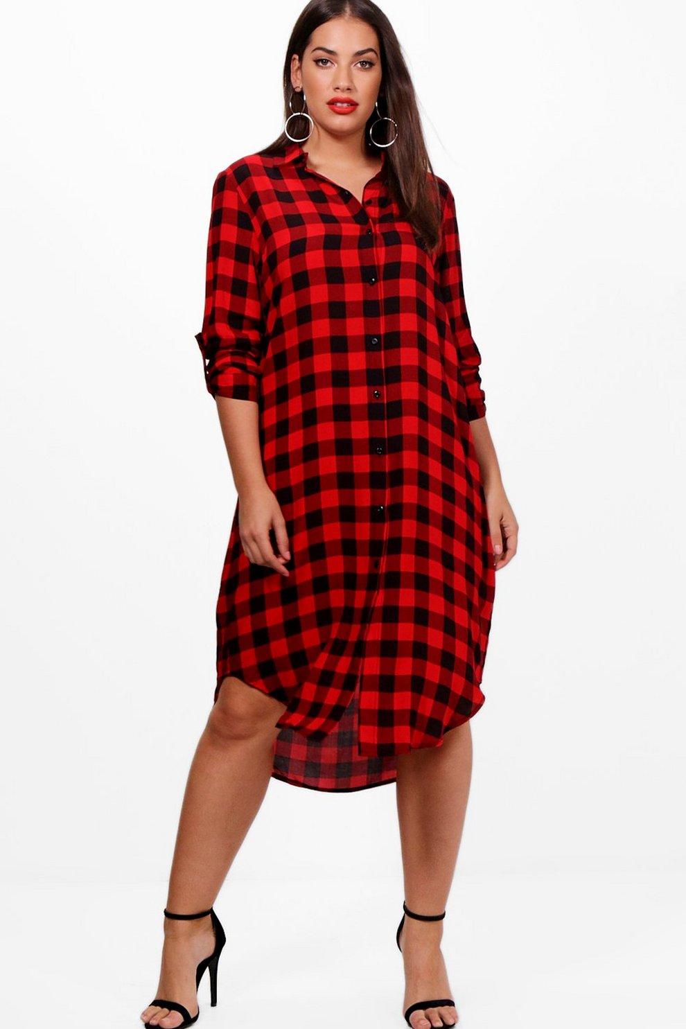 f92aa6d12e vestido estilo camisa de cuadros Maddie plus