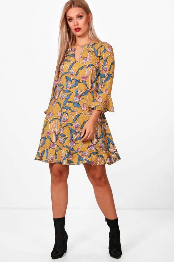 Plus Floral Woven Skater Dress