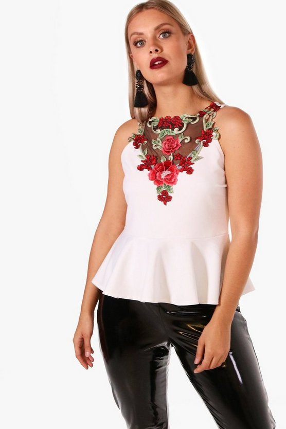 Plus Jessy Embroidered Scuba Peplum