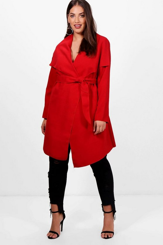 Plus Wool Look Wrap Front Coat