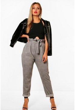 Womens Black Plus Check Paperbag Tapered Pants
