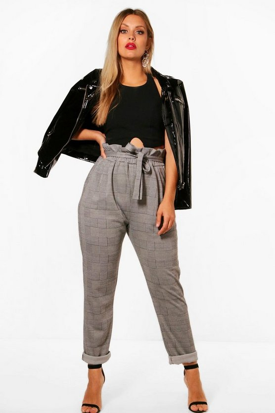 Plus Check Paperbag Tapered Trouser, Black, DAMEN
