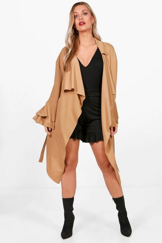 Plus Frill Sleeve Duster Jacket