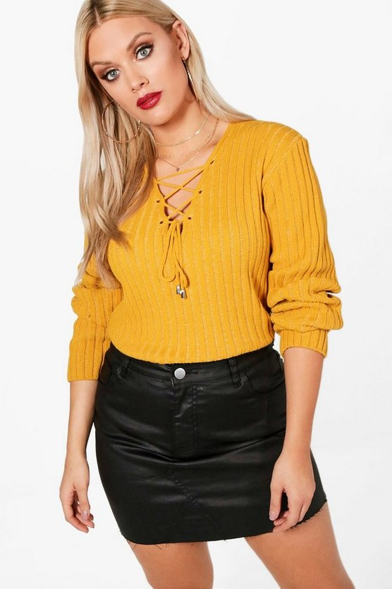 Plus Wendy Lace Up Front Jumper