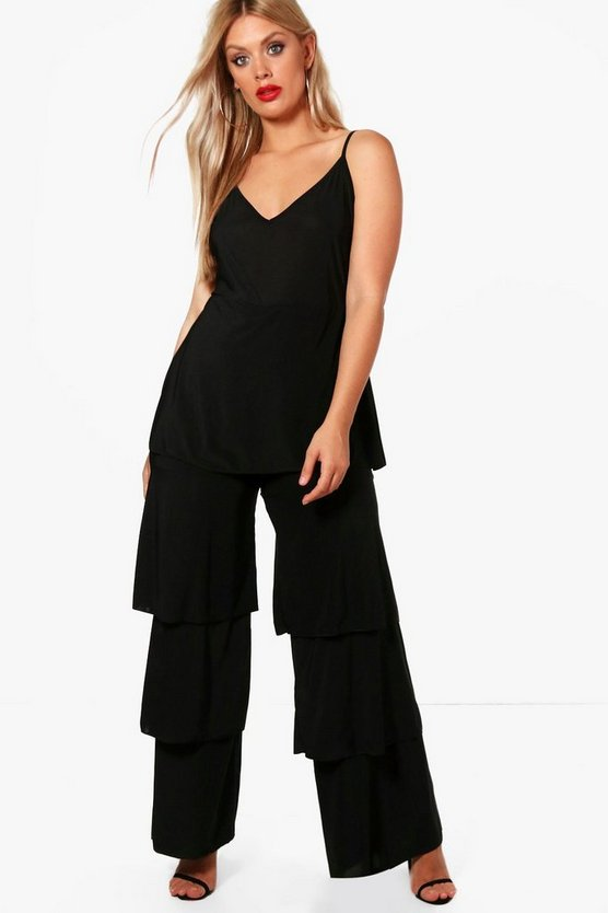 Plus Slinky Frill Layered Jumpsuit