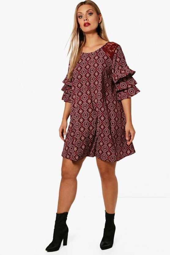 Plus Lucie Printed Frill Shift Dress