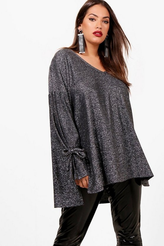 Plus Libby Tie Sleeve Glitter Jumper