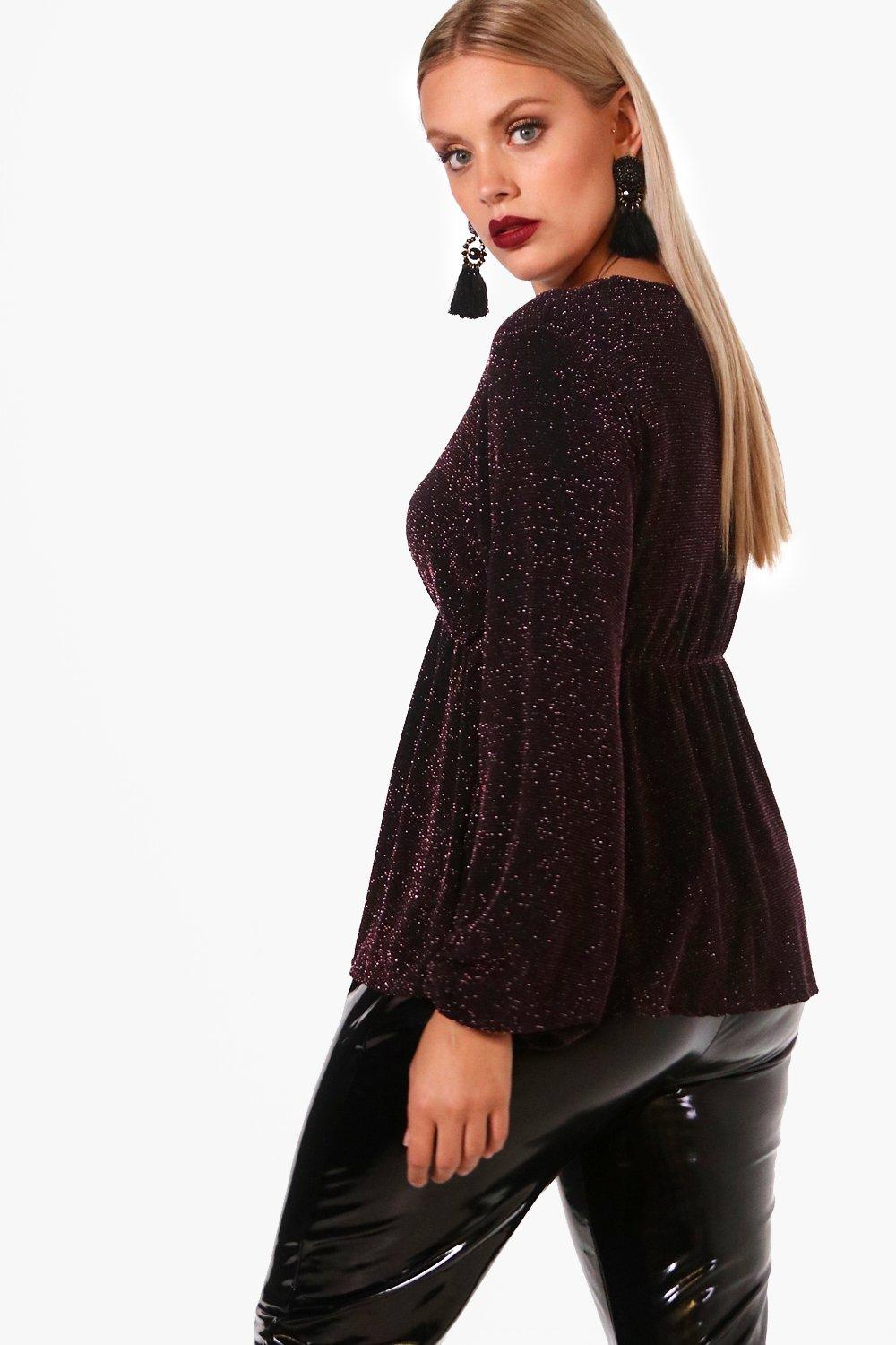 Plus Scarlett pink Top Plunge Long Metallic Sleeve OZxAO