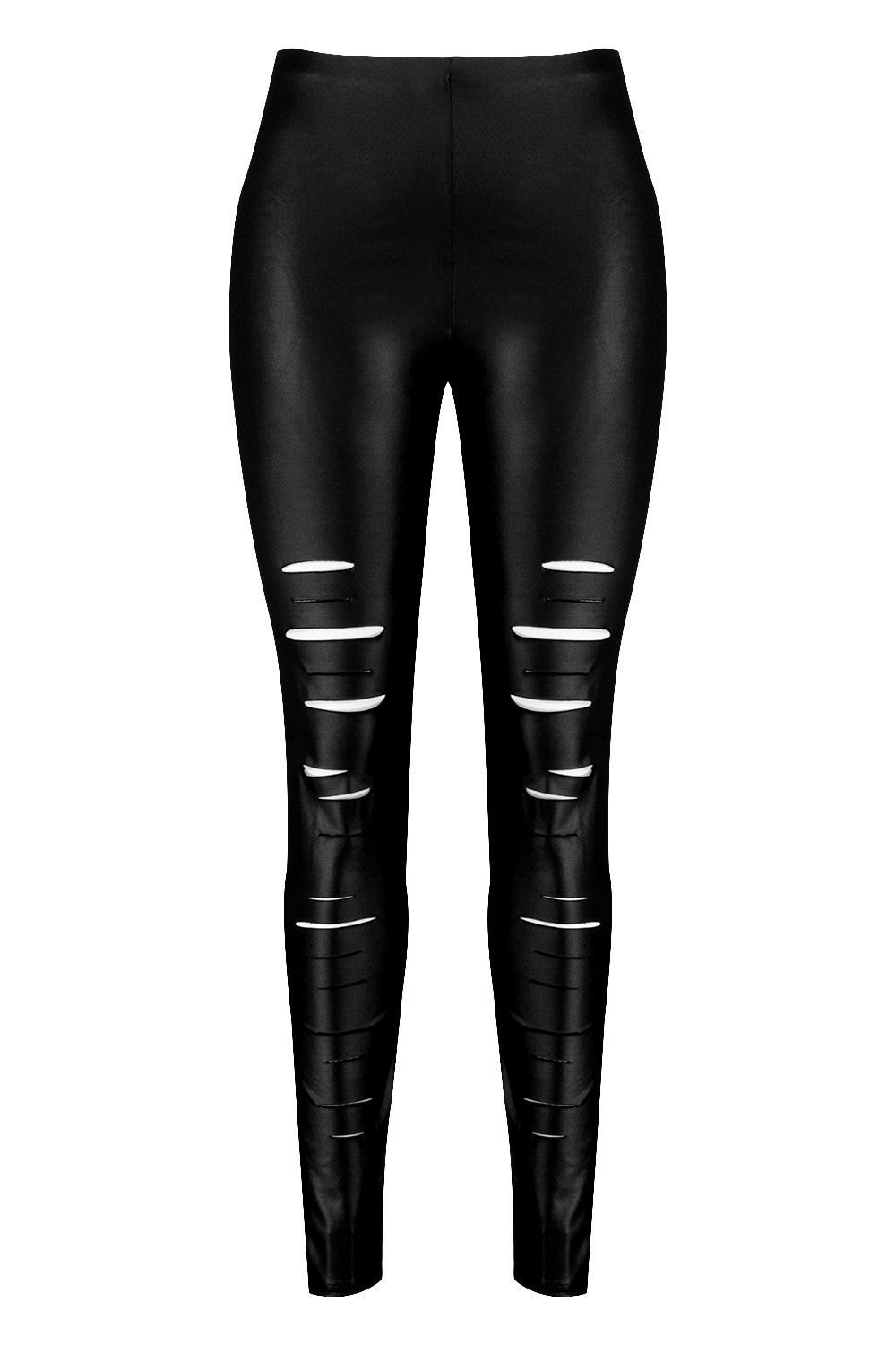 Slash Front black Plus Leggings Plus Slash 8qzxPx