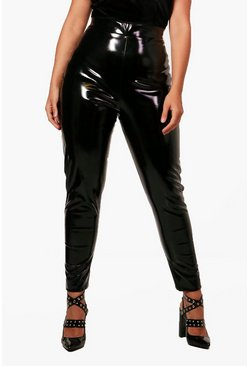 Womens Black Plus Josie High Shine PU Legging
