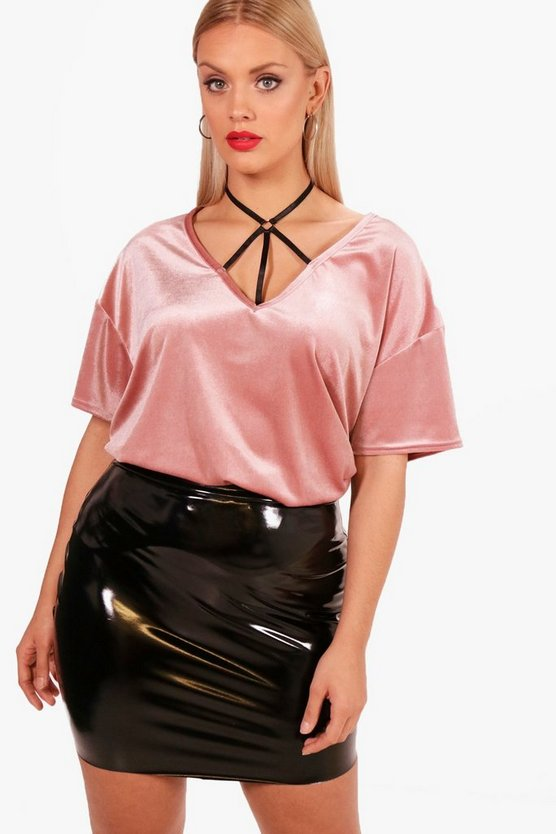 Plus Shelly Strap Detail V Neck Velvet Top