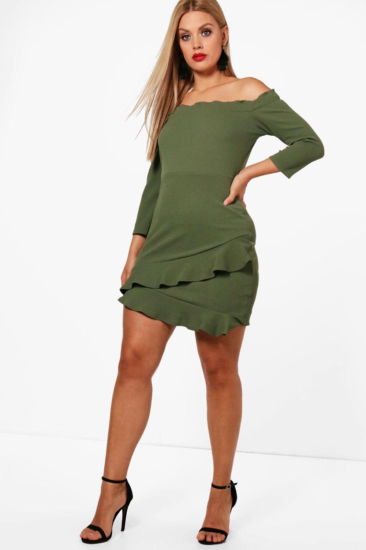 Plus Bardot Frill Bardot Plus Hem Dress OqYWawd