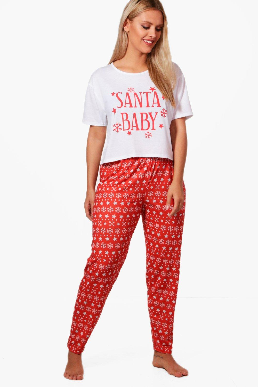 Christmas Pj.Plus Orla Santa Baby Christmas Pj Set Boohoo