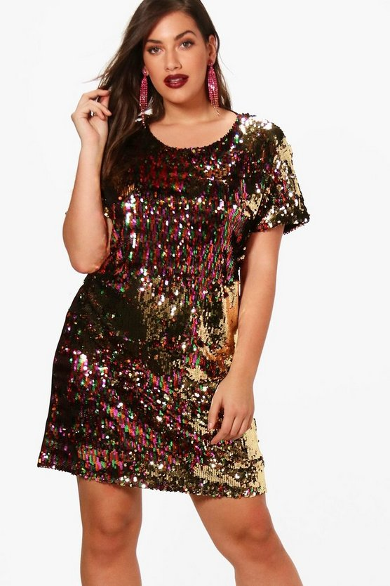 Plus Multi Sequin Shift Dress