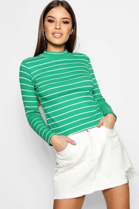 Petite Knitted Stripe Turtle Neck Jumper