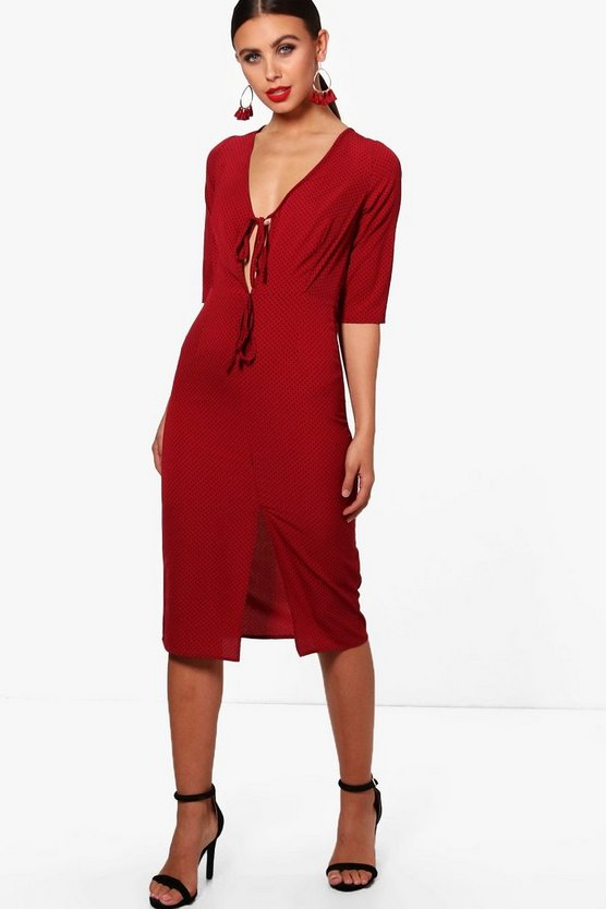 Petite Tailored Split Front Midi Dress