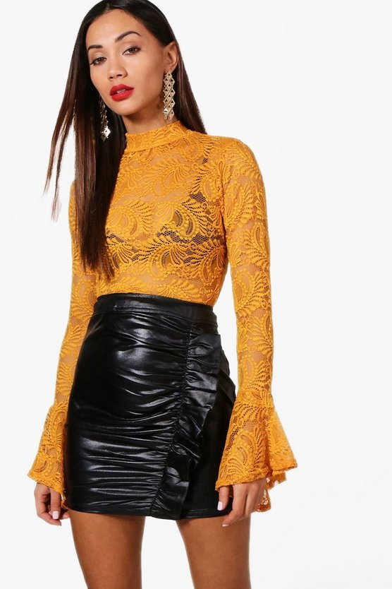 Petite Lace Open Long Sleeve Top