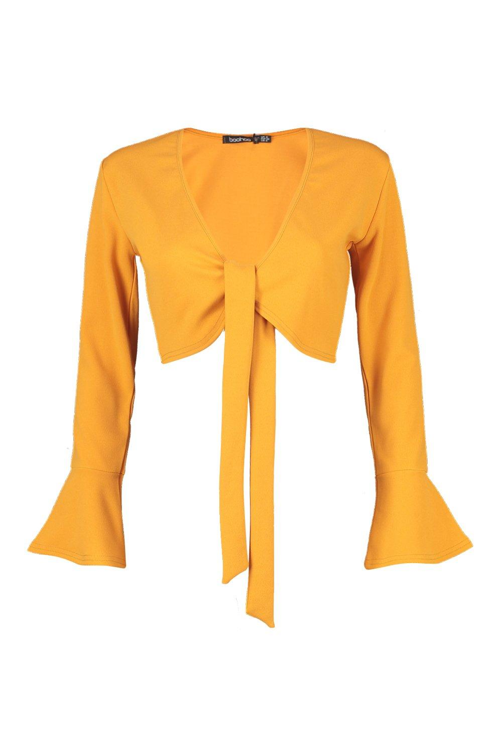 Sleeve Frill Petite Top mustard Tie Front YnYxZ16