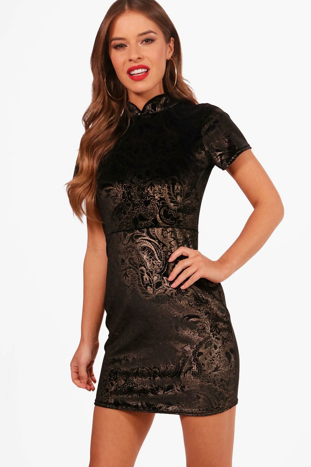2d111bb58480 Womens Black Petite Oriental Print Mini Dress