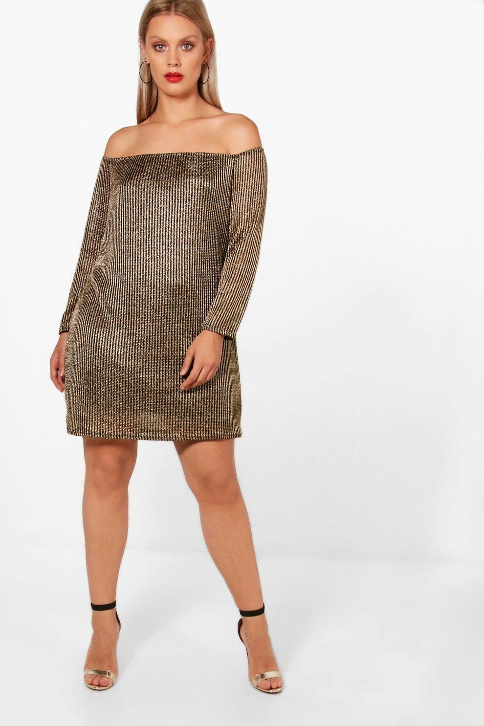 Plus Metallic Off Shoulder T Shirt Dress Boohoo
