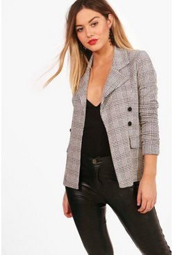Petite  Check Button Sleeve Blazer, Grey, Donna