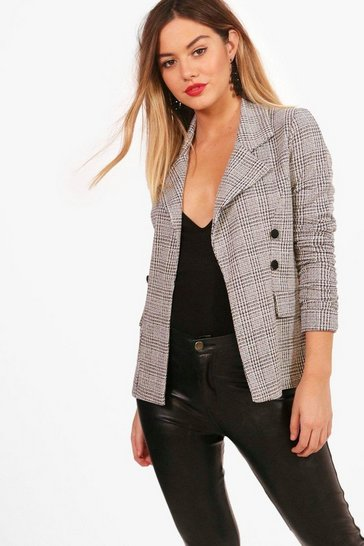 Womens Grey Petite  Check Button Sleeve Blazer