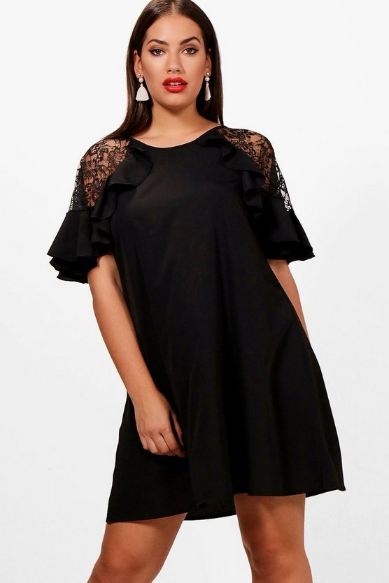 Plus Lace Detail Frill Shift Dress