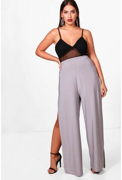 Womens Silver Plus Slinky Split Wide Leg Trouser