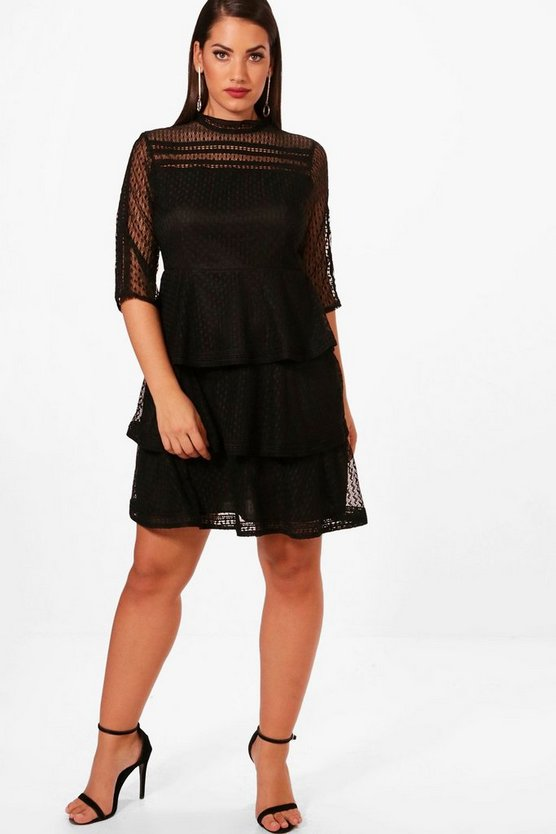 Plus Frill Lace Detail Skater Dress