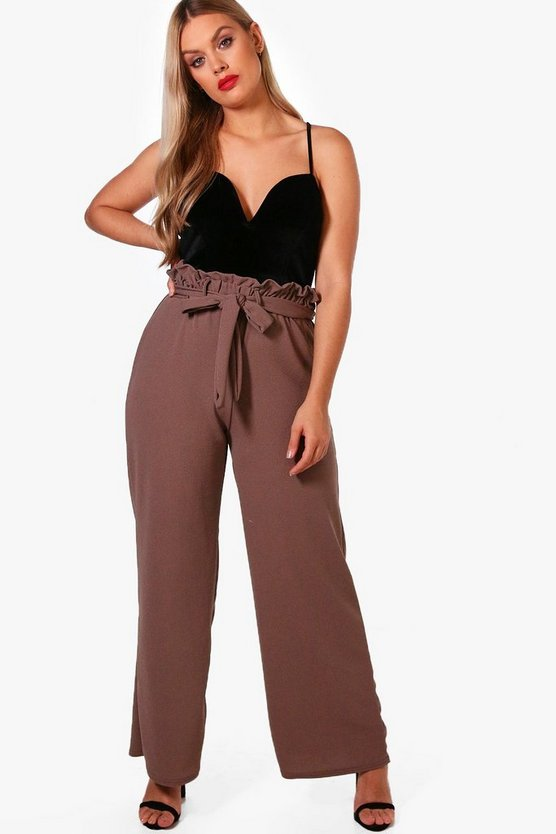 Plus Jess Paper Bag Waist Wide Leg Trouser