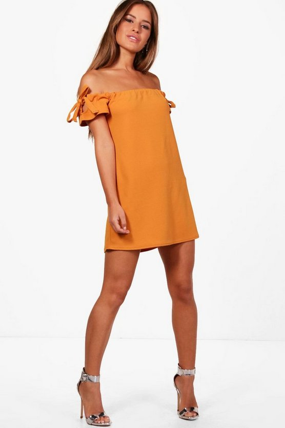 Petite Off The Shoulder Tie Sleeve Dress