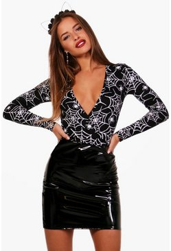 Womens Black Petite Halloween Wrap Spider Print Bodysuit