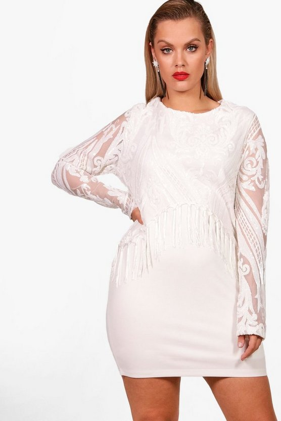 Plus L/S Sequin Tassel Trim Bodycon Dress