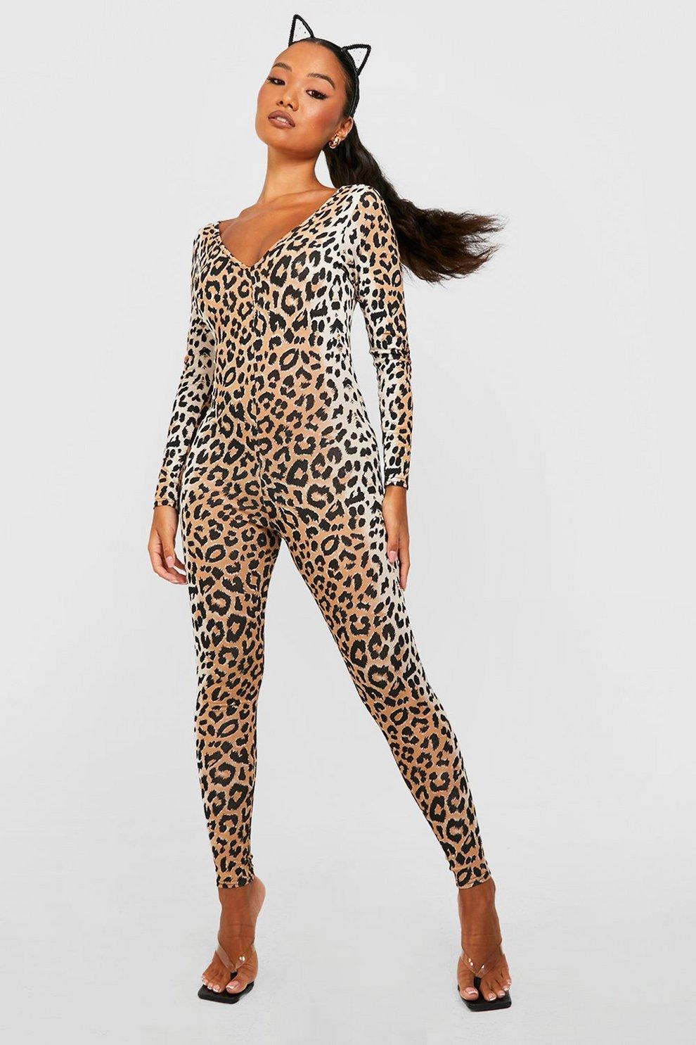 petite ashlee halloween leopard print catsuit