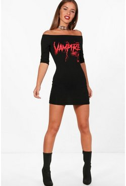 Womens Black Petite Halloween Vampire Dress