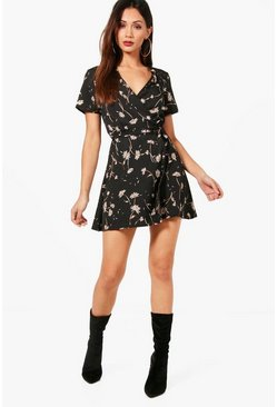 Womens Black Petite  Ditsy Floral Wrap Dress