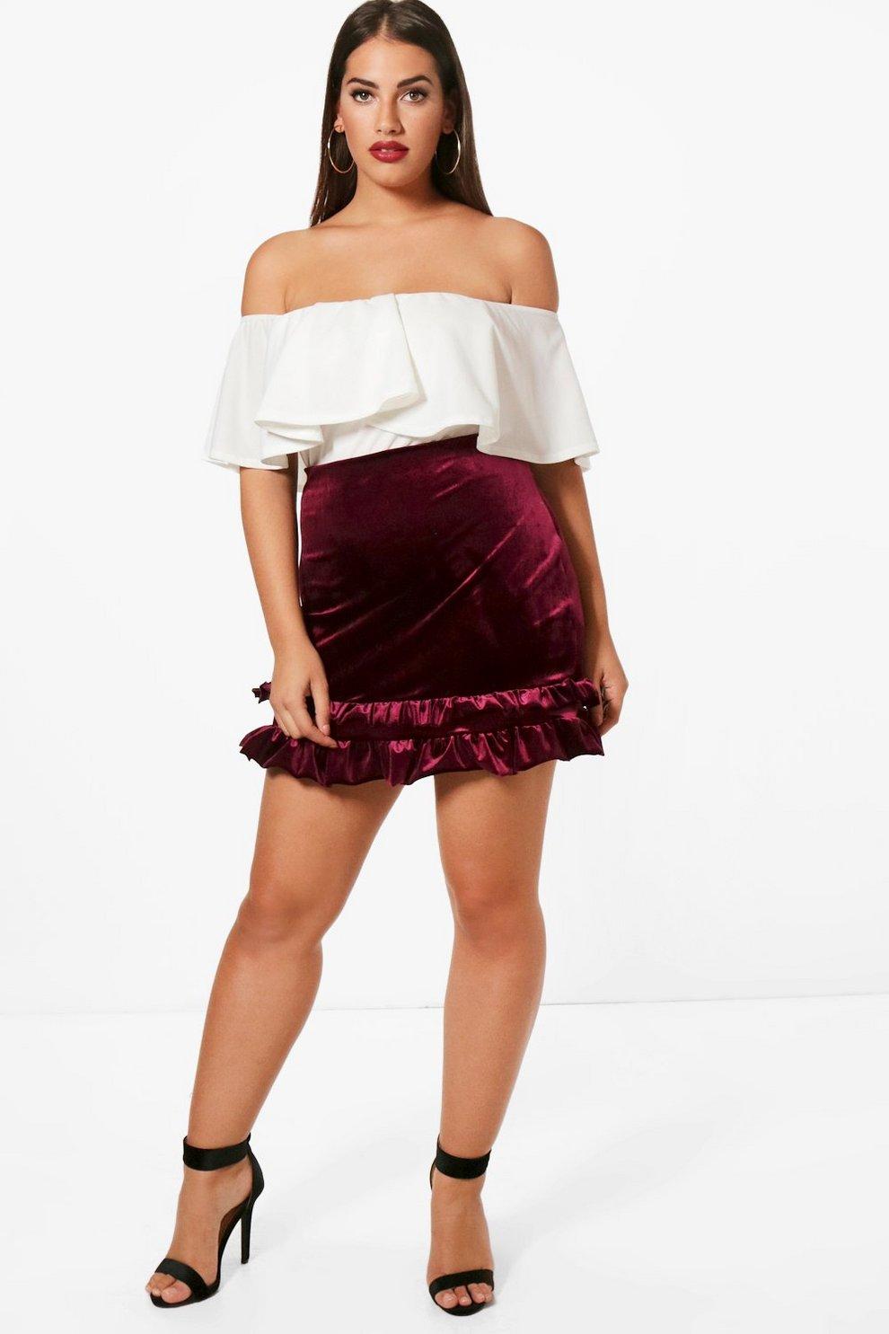 78d87b1f51141 Plus Frill Hem Velvet Skirt | Boohoo